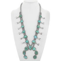 Number 8 Turquoise Squash Blossom Necklace Set 29861