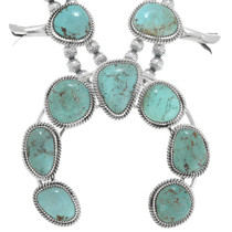 Sterling Silver Turquoise Native American Squash Blossom Necklace 29861