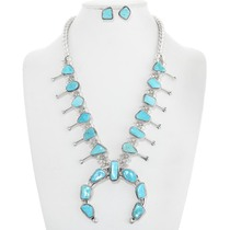 Natural Turquoise Squash Blossom Necklace 39986