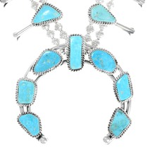 Sonoran Gold Turquoise Sterling Silver Squash Blossom Necklace 39986