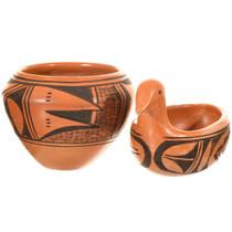 Vintage Hopi Redware Pottery Bowls Set 41608