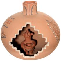 Vintage Jemez Pueblo Olla Pot Mudhead Kachina Pottery 41610