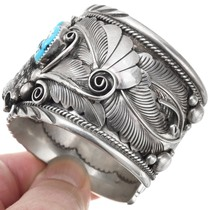 Natural Turquoise Sterling Silver Navajo Bracelet 40467