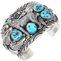 Vintage Navajo Turquoise Silver Wolf Bracelet 40467