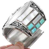 Large Heavy Gauge Turquoise Inlay Zuni Bracelet 40100