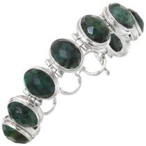 Vintage Green Jade Silver Link Bracelet 41630