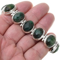 Sterling Silver Faceted Jade Bracelet 41630