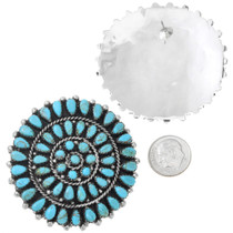 Navajo Sterling Silver Turquoise Cluster Earrings 41634