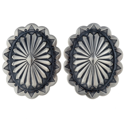 Navajo Silver Concho Earrings 24424