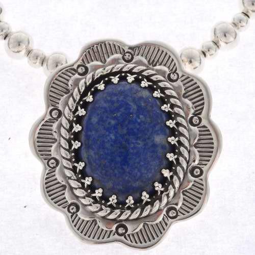 Southwest Lapis Silver Pendant 25549