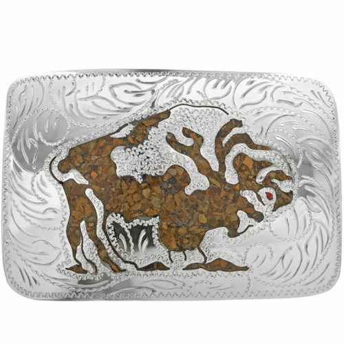 Inlaid Buffalo Tigers Eye Belt Buckle 22897