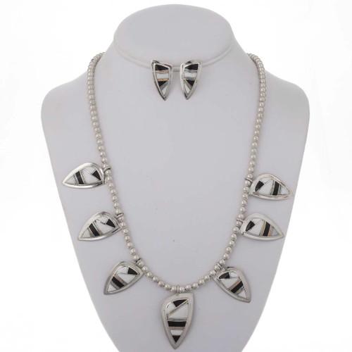 Jet Opal Shell Jewelry Set 12870