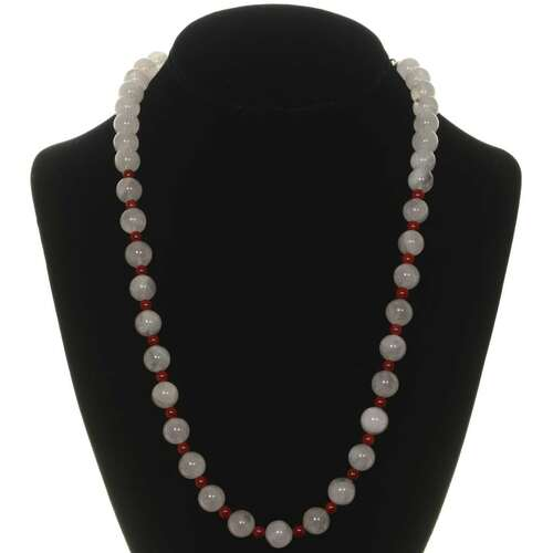 Pink Quartz Coral Bead Necklace 26267