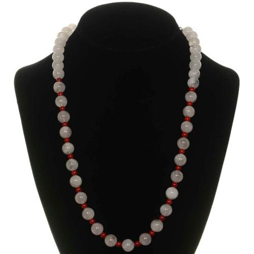 Pink Quartz Coral Bead Necklace 26267