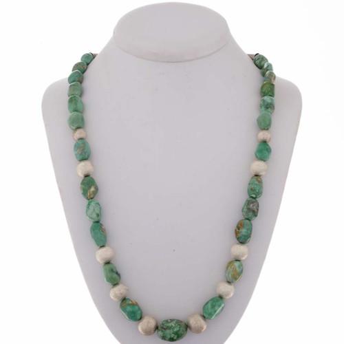 Green Nugget Navajo Necklace 22686