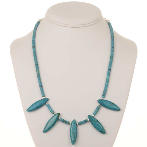Turquoise Silver Bead Necklace 25072