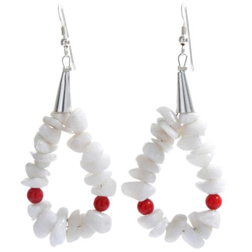 White Coral Loop Navajo Earrings 23758