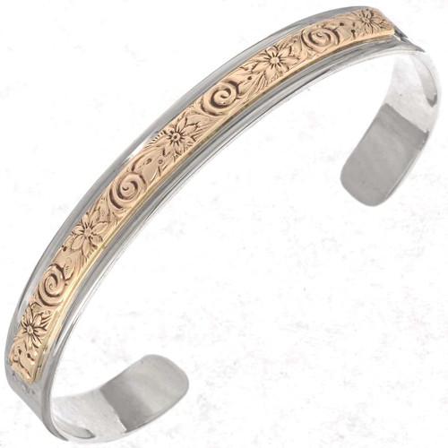 Silver Gold Navajo Unisex Cuff Bracelet 25388