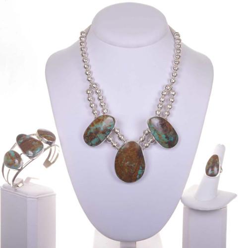 Ribbon Turquoise Navajo Necklace Set 16924