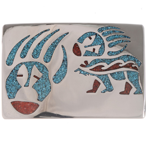 Inlaid Silver Turquoise Coral Belt Buckle 17729