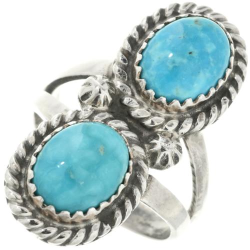 Turquoise Silver Navajo Ladies Ring 20046