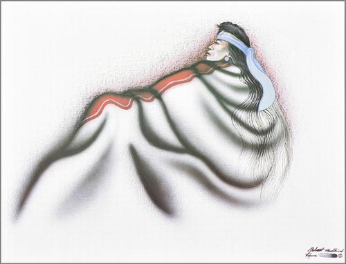 "Robert Redbird American Indian Art Print ""Sitting Alone"""