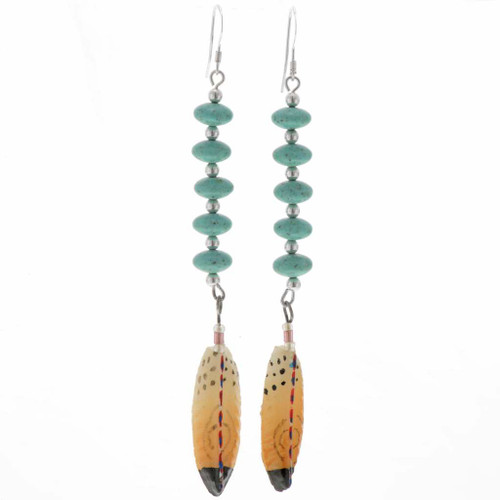 Turquoise Feather Earrings 25815