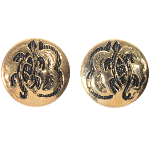Gold Turtle Hopi Style Earrings 14483