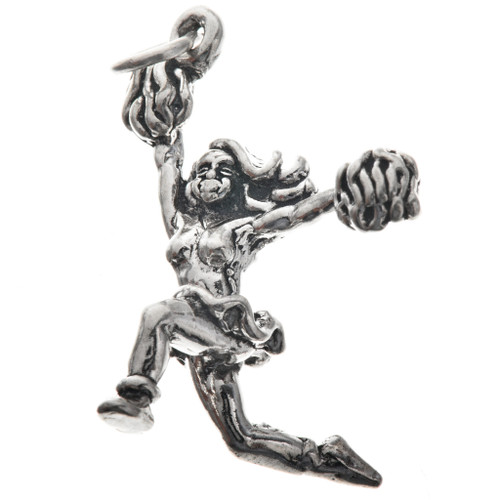 Sterling Silver Cheerleader Charm Bracelet Charm Pendant Necklace 1