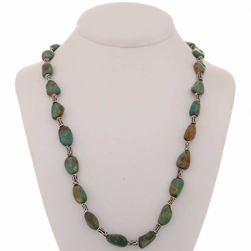 Navajo Turquoise Nugget Silver Necklace 23004