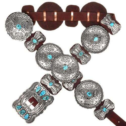 Turquoise Hammered Silver Concho Belt Navajo Indian Jewelry 3615