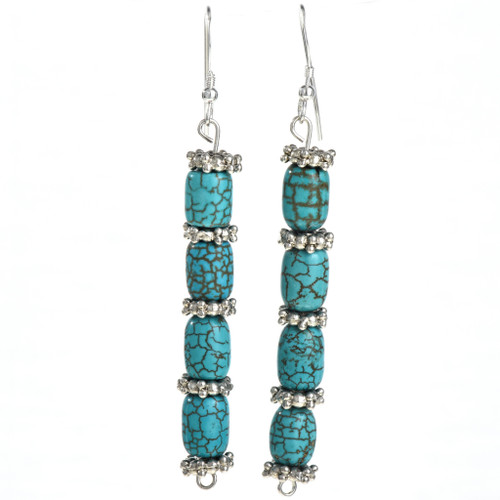 Turquoise Magnesite Silver Navajo Line Earrings 21927