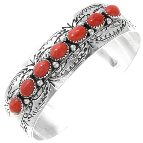 Native American Red Coral Sterling Cuff Bracelet 25295