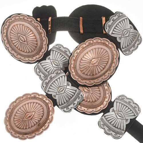 Copper Silver Southwest Concho Belt 20018