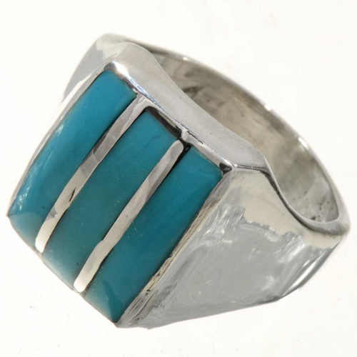 Navajo Turquoise Silver Mens Ring 25493