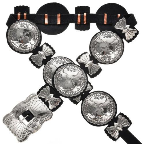 Navajo Indian Silver Concho Belt 14906