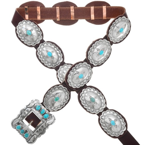 Navajo Spiderweb Turquoise Silver Concho Belt 20725