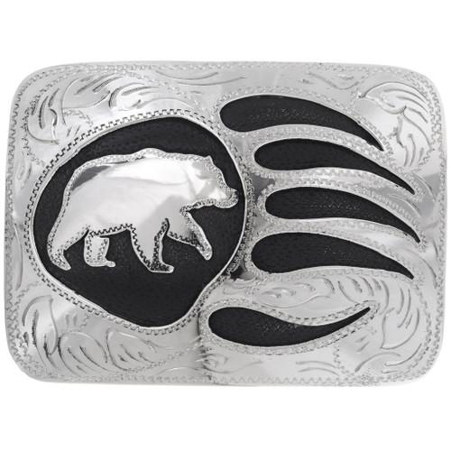 Overlaid Silver Bear Belt Buckle 23847
