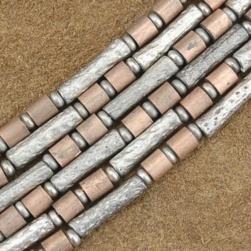 Wholesale Lot of 12 4mm to 5mm Silver and Copper Bali Bead Strands