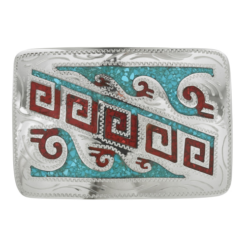 Hopi Style Inlaid Belt Buckle 24491