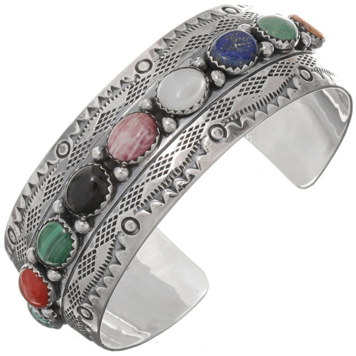 Gemstone Sterling Navajo Cuff 25975