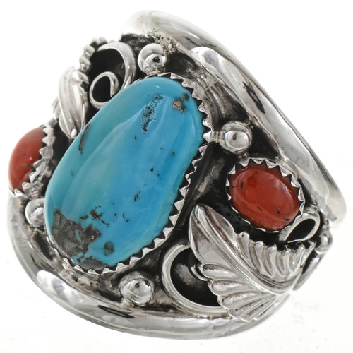 Navajo Turquoise Silver Mens Ring 21598