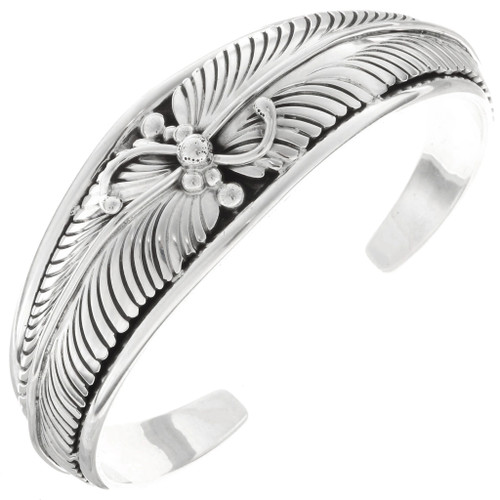 Southwest Silver Feather Cuff Bracelet 25163