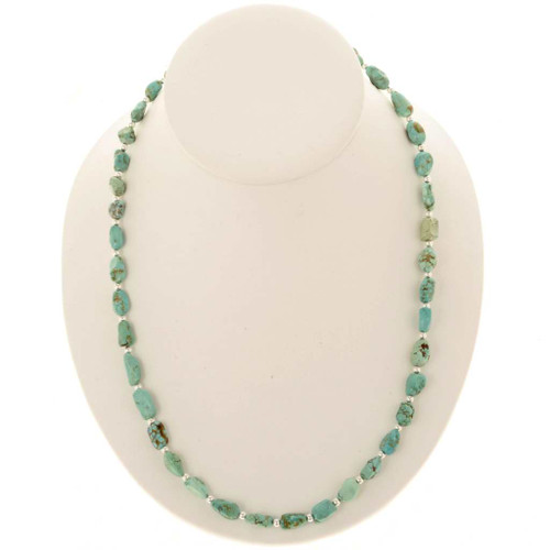 Turquoise Silver Navajo Bead Necklace 25088