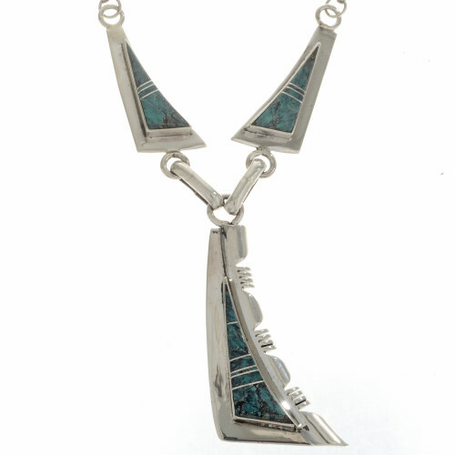 Sterling Turquoise Native American Style Necklace 15179