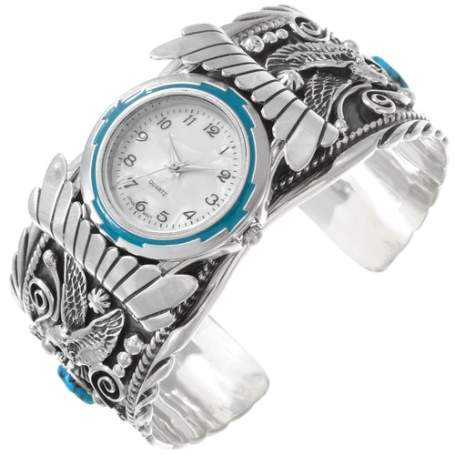 Turquoise Coral Eagle Mens Watch Cuff 22112