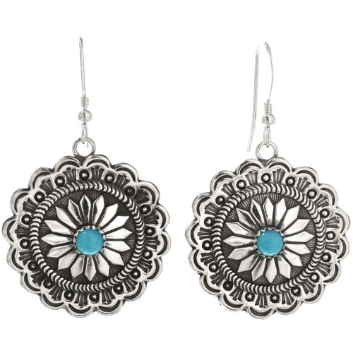 Navajo Turquoise Silver Concho Earrings 15788