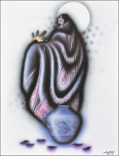 "Robert Redbird Native American Art Print ""Lonely Woman"""