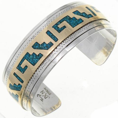 Gold Silver Turquoise Southwest Cuff Bracelet 13162