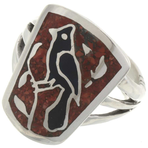 Navajo Inlaid Coral Ring 27081